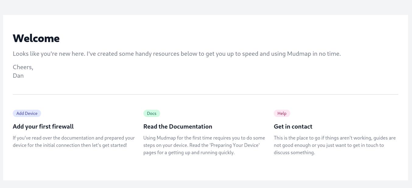 Mudmap Initial Dashboard Display